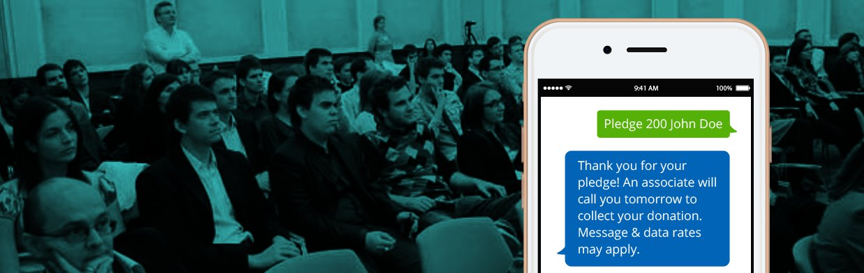 Mobile Pledge Banner. Shot of audience in background with mobile phone in the foreground.