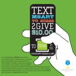 Mississippi Museum of Art call to action poster. Hand with cell phone.